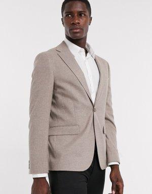 Светло-коричневый пиджак стретч Moss London BROS