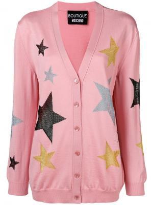 Star button cardigan Moschino. Цвет: розовый