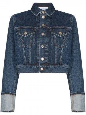 Укороченная джинсовая куртка Fem Little Trucker Helmut Lang. Цвет: синий