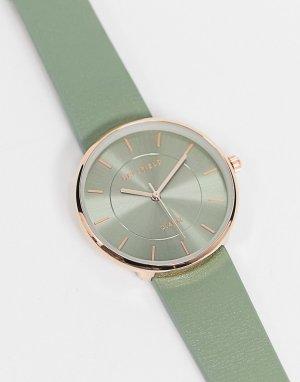 Часы в цветах серый и розовое золото -Зеленый Bellfield