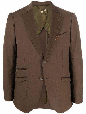 Однобортный пиджак с эффектом потертости Maurizio Miri. Цвет: коричневый