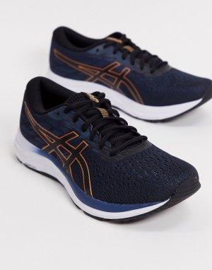 Черные кроссовки с бронзовой отделкой Running Gel-Excite 7-Черный Asics