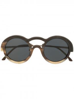 Солнцезащитные очки RG0095 в круглой оправе Rigards. Цвет: черный