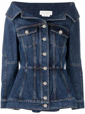 Джинсовая куртка с широким воротником Alexander McQueen. Цвет: синий