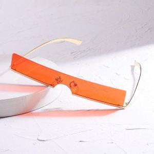 Мужские солнцезащитные очки без оправы с тонированными линзами SHEIN. Цвет: красный
