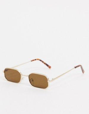 Прямоугольные солнцезащитные очки в золотистой оправе -Золотой River Island