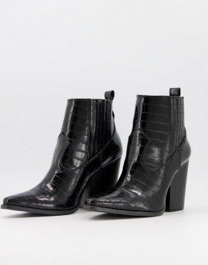 Черные ботильоны на каблуке в стиле вестерн с эффектом крокодиловой кожи Qupid-Синий QUPID