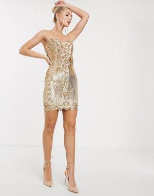 Платье мини с пайетками золотистого цвета и вырезом сердечком -Золотой Goddiva