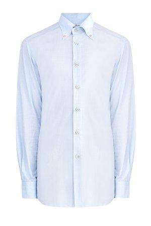 Рубашка из хлопка с микро-принтом в клетку и воротником button-down KITON. Цвет: голубой