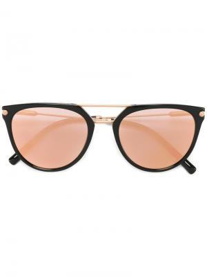 Солнцезащитные очки с круглой оправой Bulgari. Цвет: чёрный
