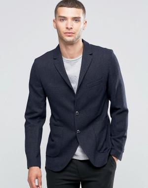 Пиджак узкого кроя с добавлением шерсти накладными карманами Sisley. Цвет: темно-синий