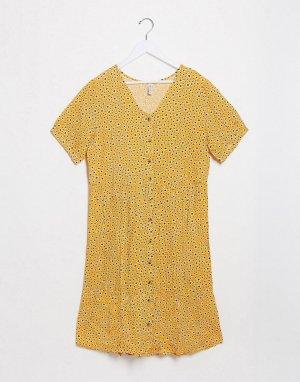 Желтое свободное платье на пуговицах с цветочным принтом -Желтый Blend She