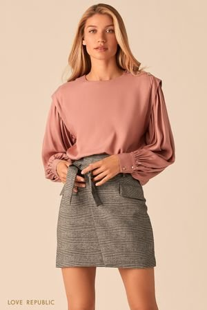 Серая юбка-мини с запахом и поясом на талии LOVE REPUBLIC