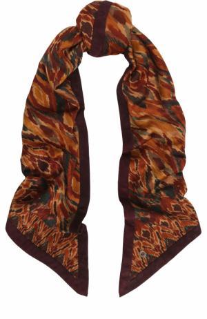 Кашемировая шаль с замшевой отделкой Loro Piana. Цвет: коричневый