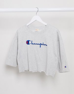 Кроп-топ с логотипом -Серый Champion