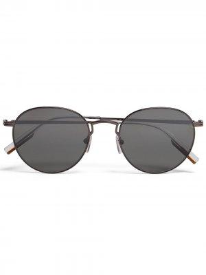 Солнцезащитные очки Leggerissimo в круглой оправе Ermenegildo Zegna. Цвет: серый