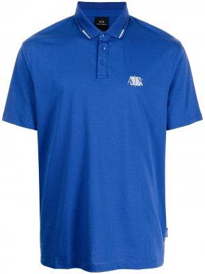Рубашка поло с логотипом Armani Exchange. Цвет: синий