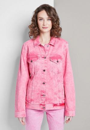 Куртка джинсовая Tom Tailor Denim. Цвет: розовый