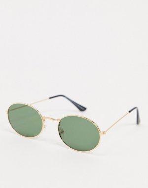 Золотистые круглые солнцезащитные очки с зелеными стеклами -Золотистый SVNX
