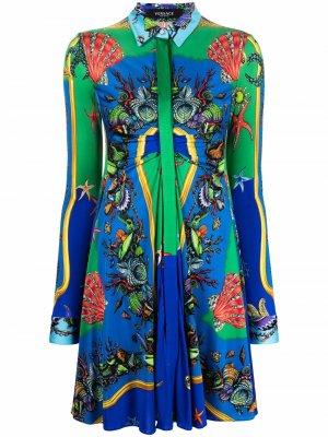 Платье-рубашка с принтом Trésor De La Mer Versace. Цвет: синий
