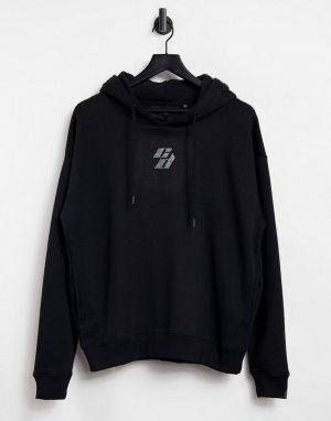 Худи черного цвета в стиле oversized с логотипом из стразов -Черный цвет Criminal Damage