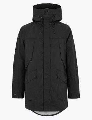 Хлопковый макинтош с технологией Stormwear ™ M&S Collection. Цвет: черный