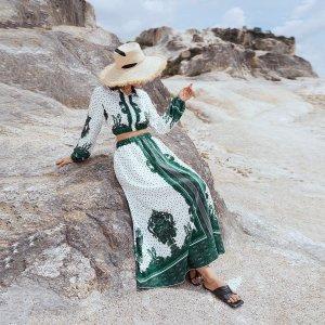 В горошек Контрастный Блуза & Юбка SHEIN. Цвет: многоцветный