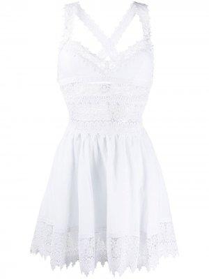 Поплиновое платье с кружевными вставками Charo Ruiz Ibiza. Цвет: белый