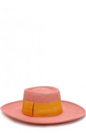 Соломенная шляпа с лентой Artesano. Цвет: розовый