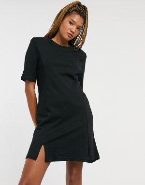 Черное платье-футболка мини с разрезами из органического хлопка Andrea-Черный Monki