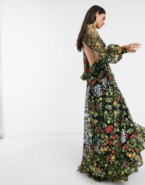 Летнее платье макси с цветочной вышивкой и открытой спиной -Мульти ASOS EDITION