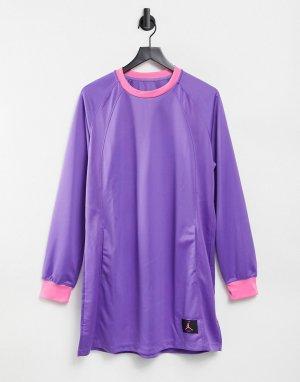 Фиолетовое платье с длинными рукавами, воротом и манжетами розового цвета -Фиолетовый цвет Jordan