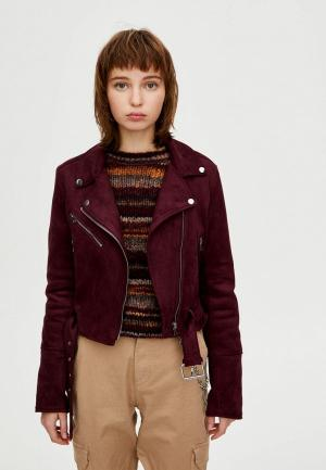 Куртка кожаная Pull&Bear. Цвет: бордовый