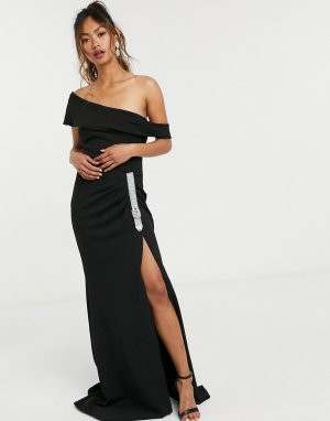Черное платье макси с открытыми плечами и пряжкой -Черный цвет Goddiva