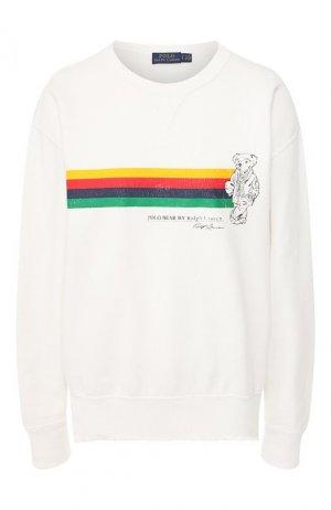 Хлопковый свитшот Polo Ralph Lauren. Цвет: белый