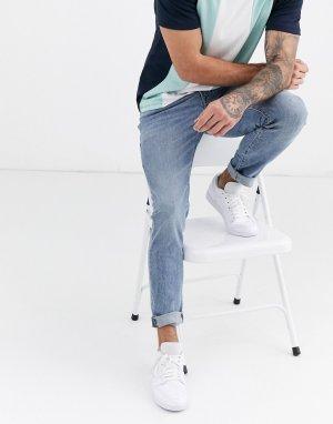 Светлые джинсы скинни с рваной отделкой -Синий Abercrombie & Fitch