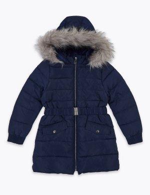 Длинное детское пальто с мехом и отделкой Stormwear™ Marks & Spencer. Цвет: темно-синий
