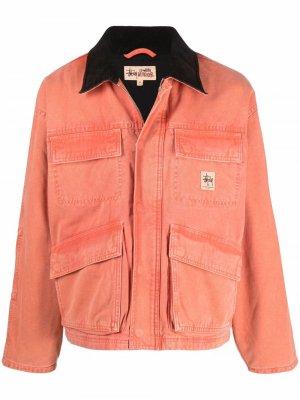 Куртка с нашивкой-логотипом Stussy. Цвет: оранжевый