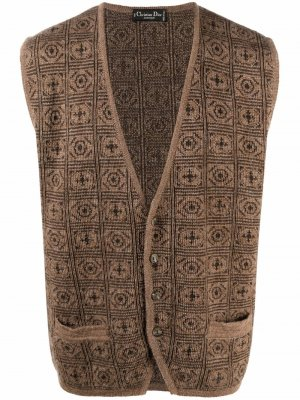 Жилет 1980-х годов с геометричным узором Christian Dior. Цвет: коричневый