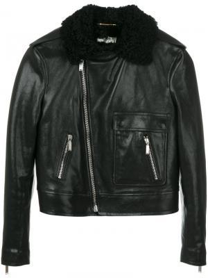 Кожаная куртка с отделкой из овчины Saint Laurent. Цвет: чёрный