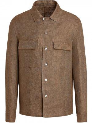 Рубашка с карманами Ermenegildo Zegna. Цвет: коричневый