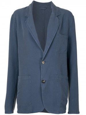 Однобортный жакет-рубашка Rochas. Цвет: синий