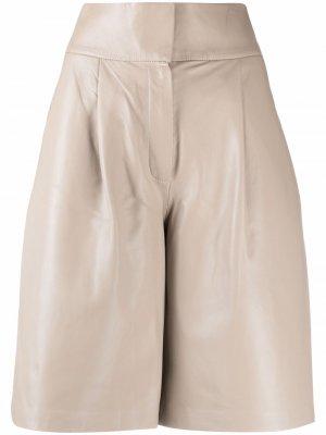 Кожаные шорты с завышенной талией Federica Tosi. Цвет: нейтральные цвета