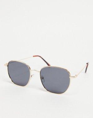Серебристые солнцезащитные очки с оправой шестиугольной формы -Серебристый Only & Sons