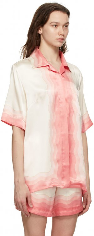Multicolor Silk Lucid Dreams Short Sleeve Shirt Casablanca. Цвет: peach