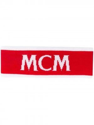 Повязка на голову с логотипом MCM. Цвет: белый