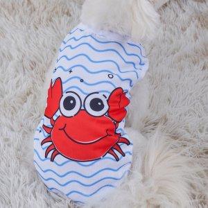 Майка для домашних животных с принтом краба SHEIN. Цвет: многоцветный