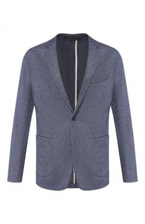 Пиджак из смеси льна и шерсти Drykorn. Цвет: синий