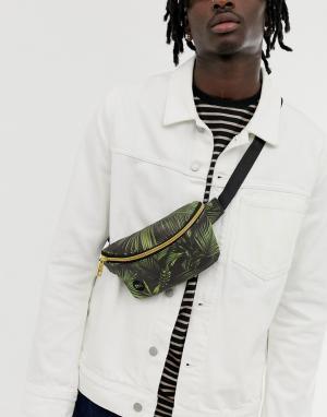 Сумка-кошелек на пояс с пальмовым принтом Mi-Pac. Цвет: зеленый