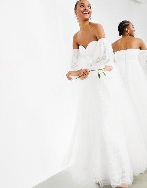 Свадебное платье из сетчатого материала с вышивкой и спущенными плечами Mila-Белый ASOS EDITION
